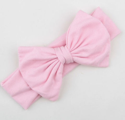 Pink Bow Headband Soft Jersey Fabric
