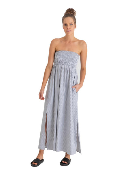 Cubaa Maxi Dress in Charcoal Stripe