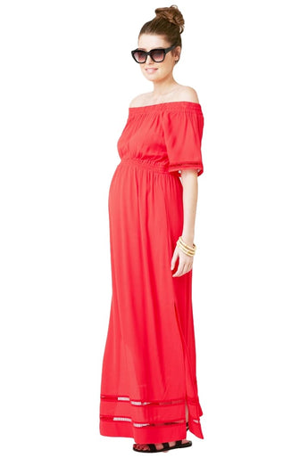 NEW IN! Cold Shoulder Maxi Dress in Carmine Red