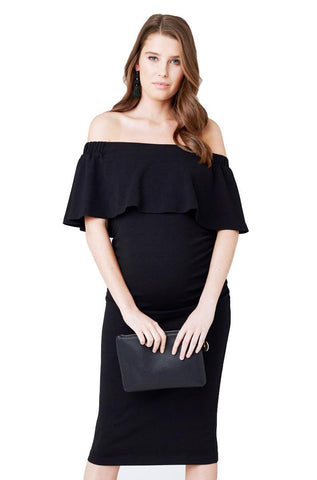 Soiree Off Shoulder Dress in Black