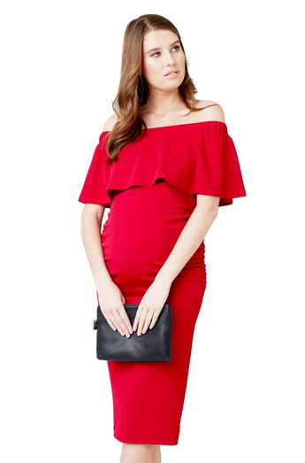 Soiree Off Shoulder Dress in Red