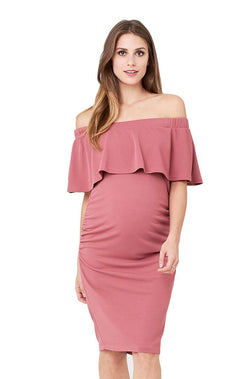 Soiree Off Shoulder Dress in Rose