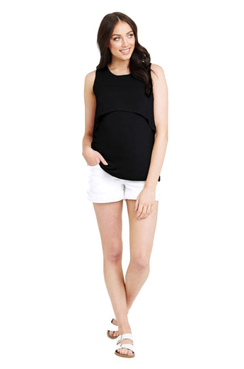 Swing Back Nursing Tank in Black