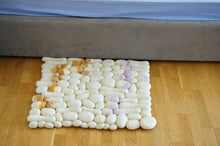 "White wool rock rug ""Art stones"""