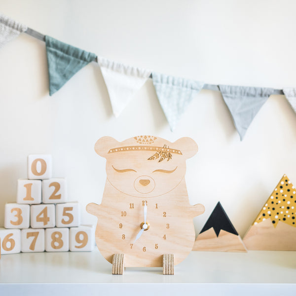 Wooden clock ~ Boho bear with feathers