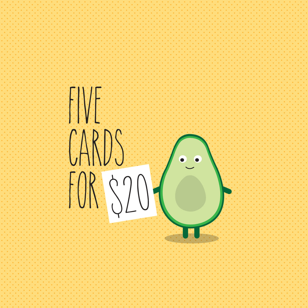 FIVE cards for $20 - USE CODE 'FIVEFOR20'
