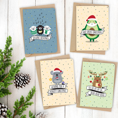 Christmas pun card {PACK 1} 8 x Christmas cards / 4 designs