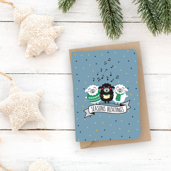 Christmas pun card  - Seasons bleatings