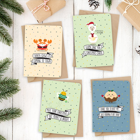 Christmas pun card {PACK 2}  8 x Christmas cards / 4 designs