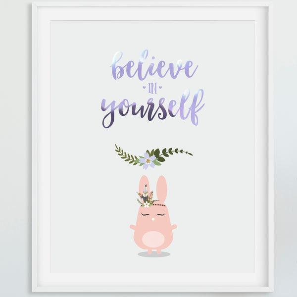 Foiled quote art print: Believe in yourself