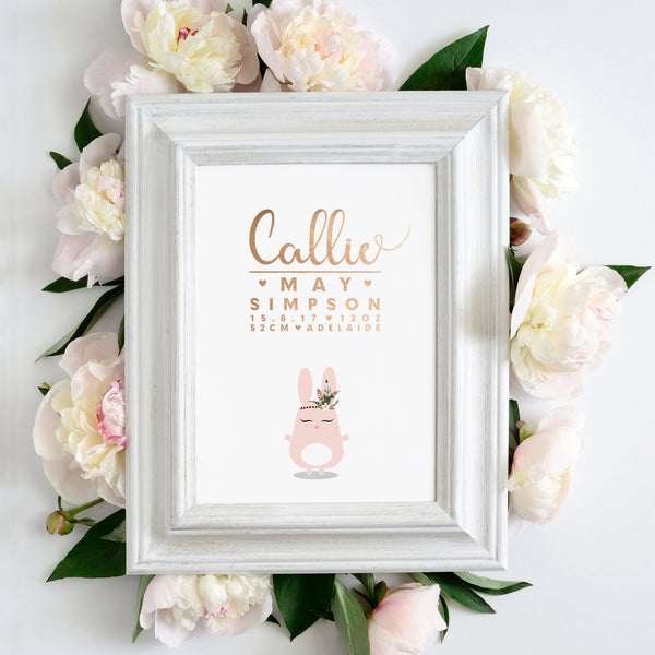 Foil: Personalised print with birth announcement details