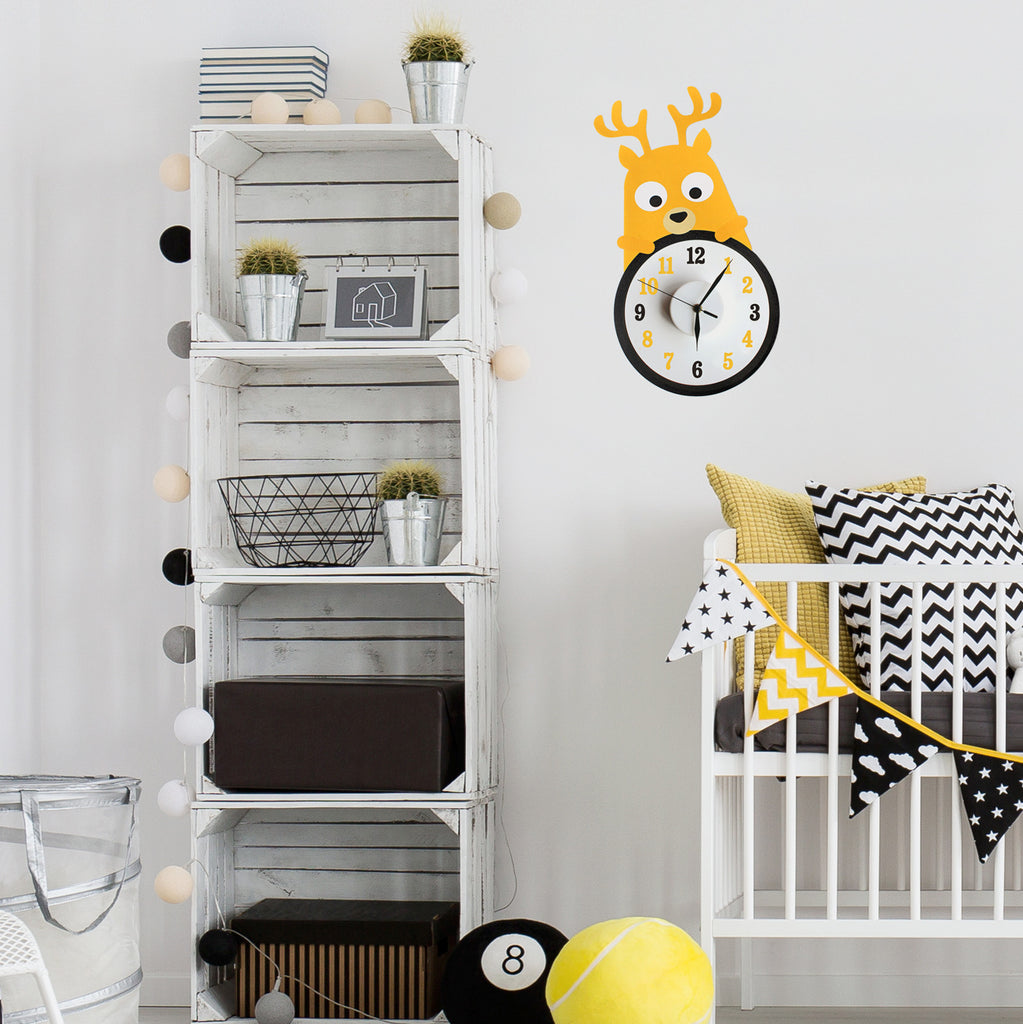 Dolly the deer wall decal clock
