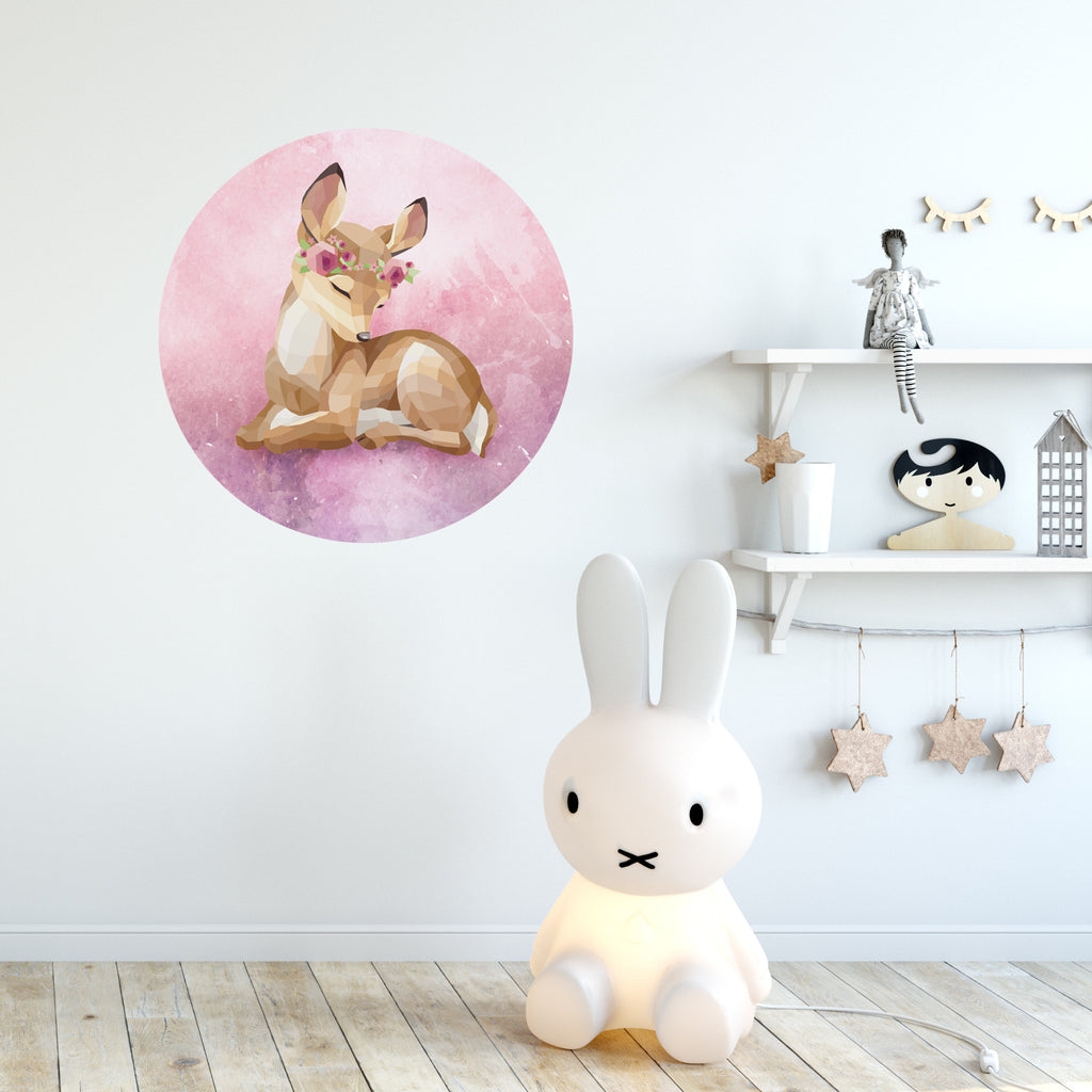 Freya the fawn circle wall decal