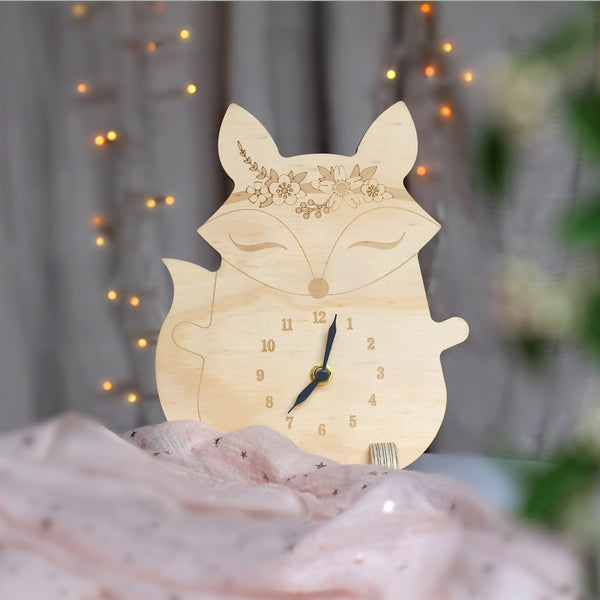 Wooden clock ~ Boho fox with flowers