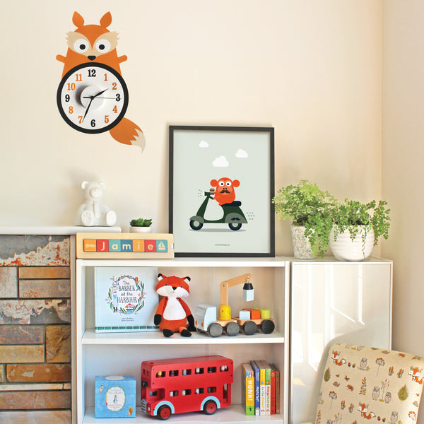 Francis the fox wall decal clock