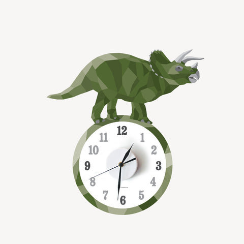 Todd the triceratops geometric wall decal clock