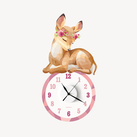 Freya the fawn geometric wall decal clock