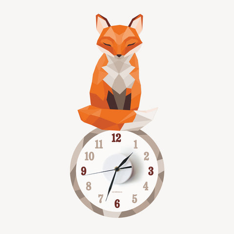Philomena the geometric fox wall decal clock