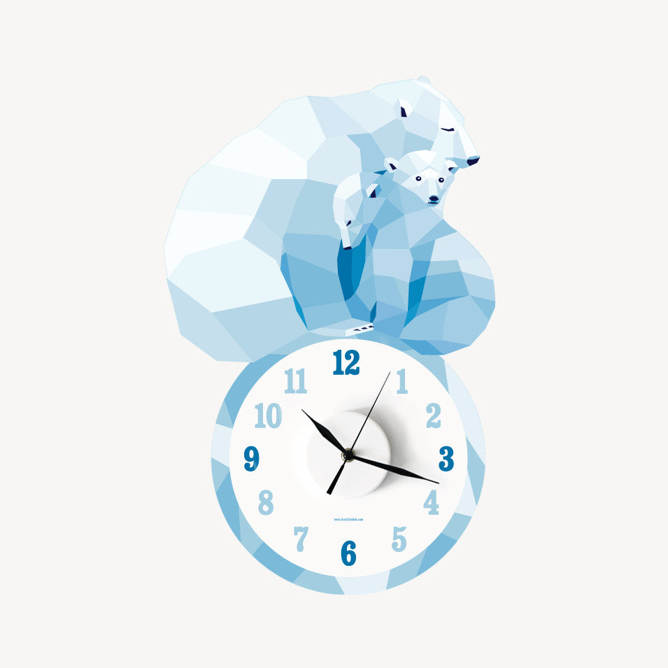 Polar bear Mumma & cubs geometric wall decal clock