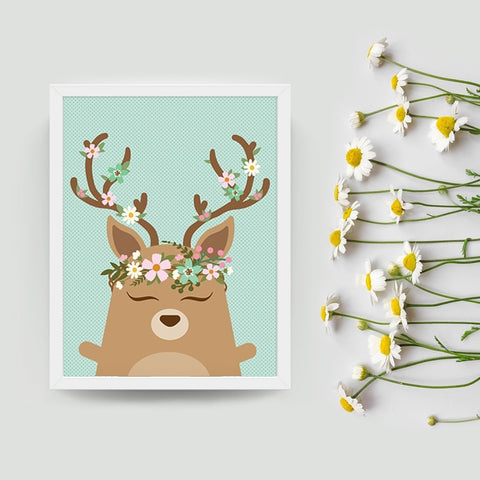 Dolly the deer boho art print