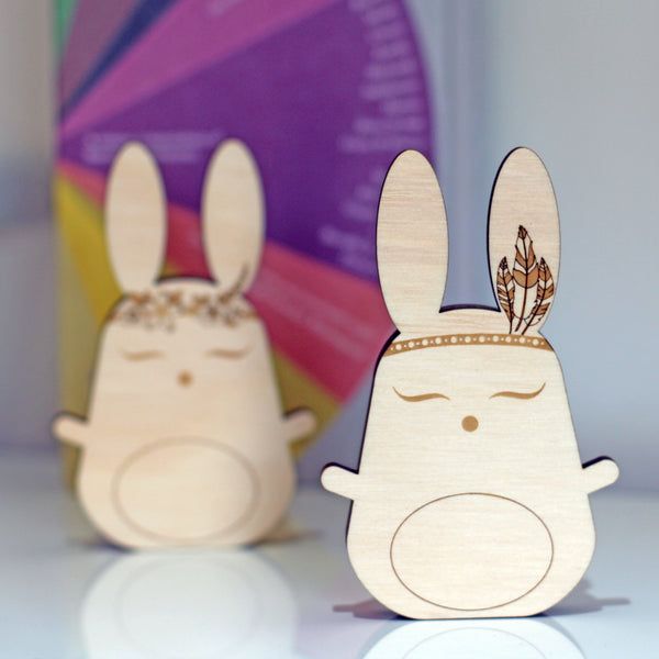 Boho Bunny shelfie // wooden decor