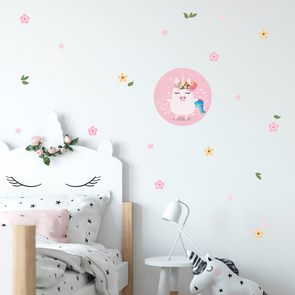 Unicorn stars and flowers wall decals