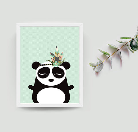 Pei the panda boho art print
