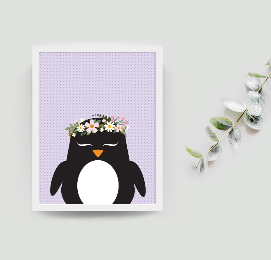 Pippa the penguin boho art print