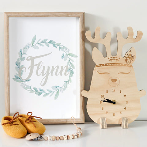 Wooden clock ~ Boho deer with feathers