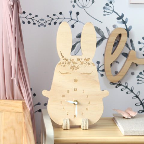 Wooden clock ~ Boho bunny with flowers
