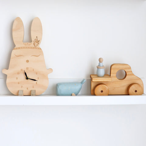 Wooden clock ~ Boho bunny with feathers