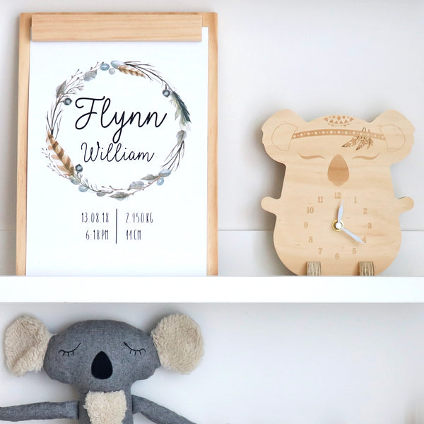 Wooden clock ~ Koala with feathers