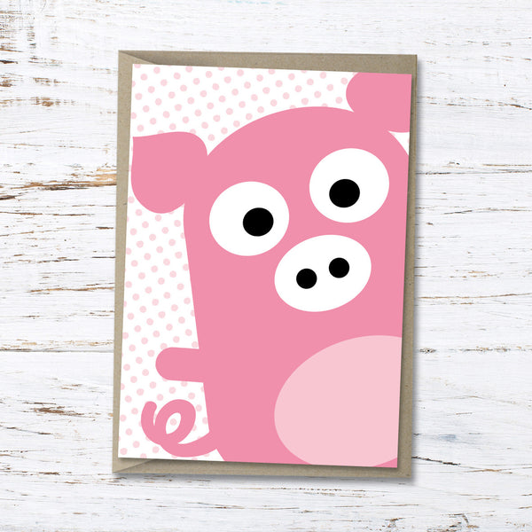 Pablo the pig greeting card