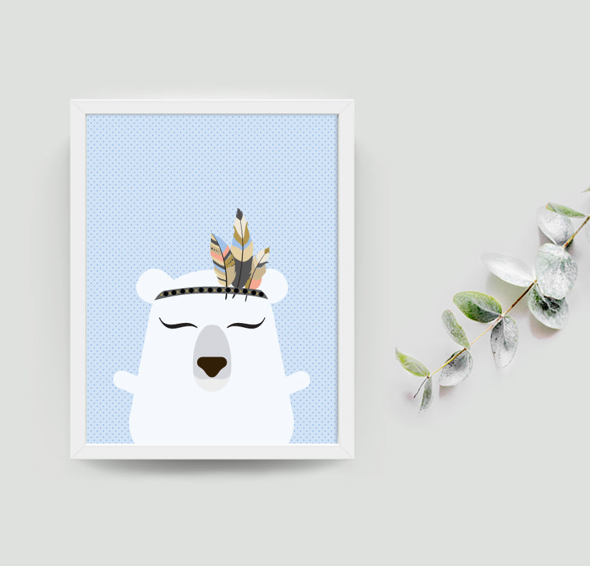 Pacey the polar bear boho art print