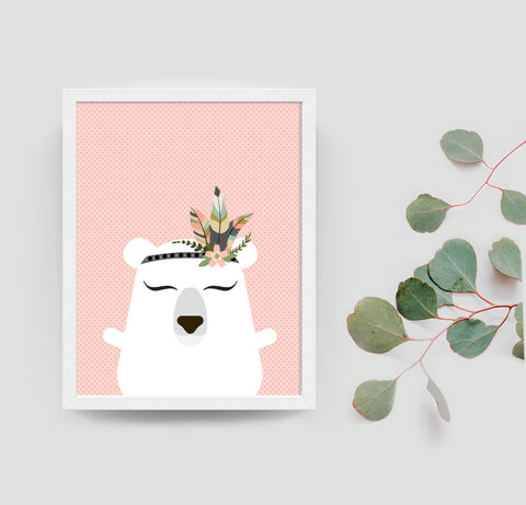 Paula the polar bear boho art print