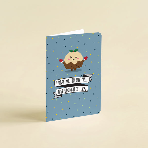 Christmas pun card  - I dare you to bite me