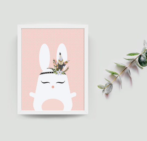 Ruby the rabbit Boho art print