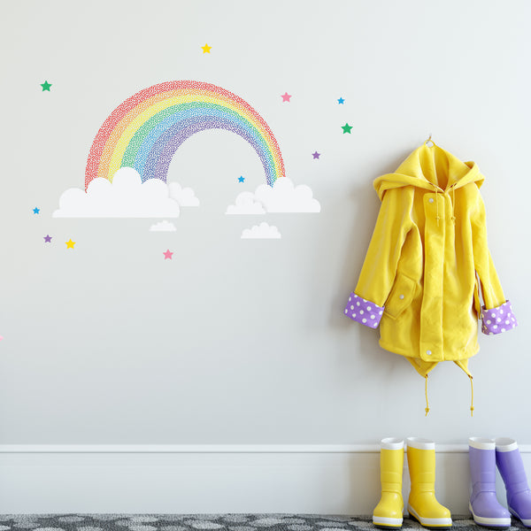 Rainbow and stars wall decal