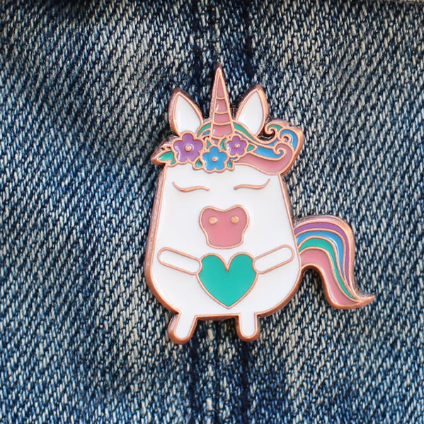 Enamel pin & card combo: Unicorn