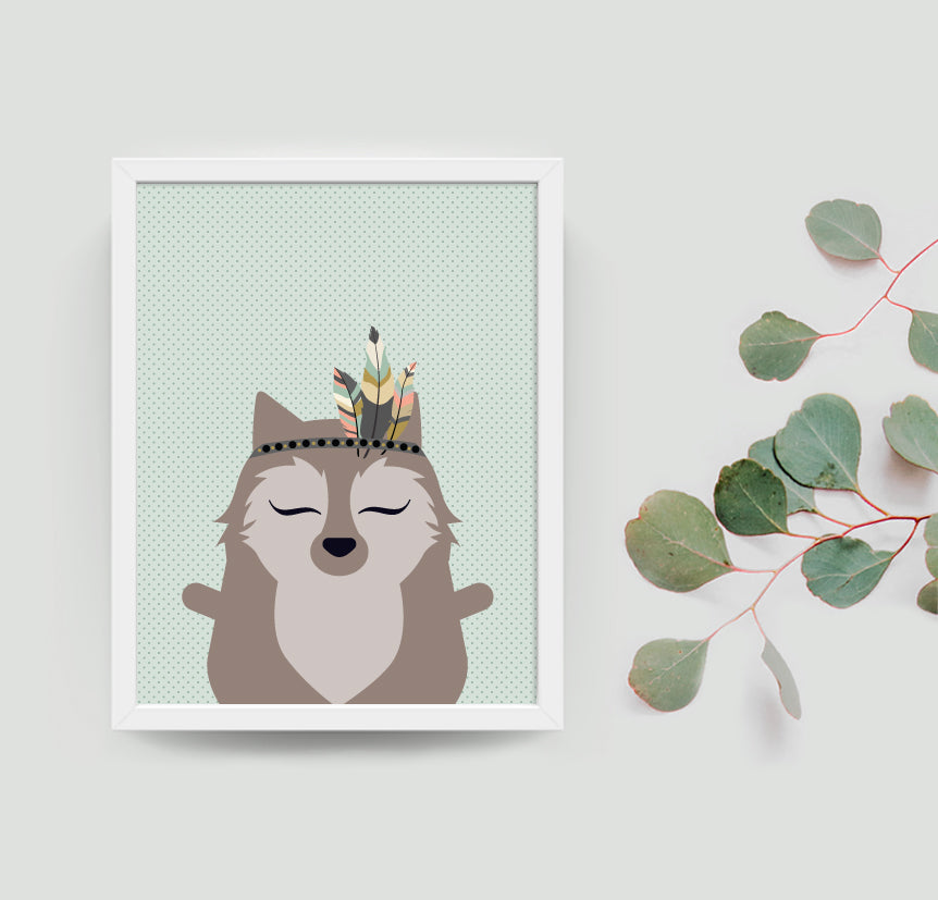 William the wolf boho art print