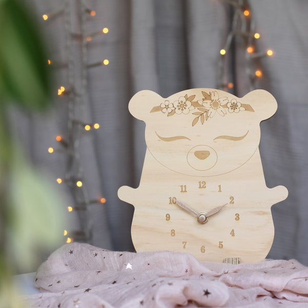 Wooden clock ~ Boho bear with flowers