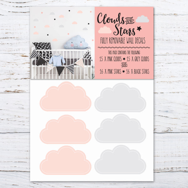 Clouds and stars wall decals
