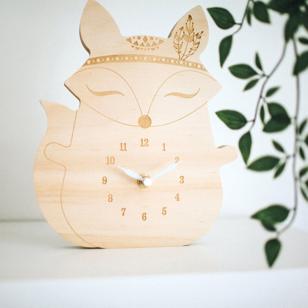 Wooden clock ~ Boho fox with feathers