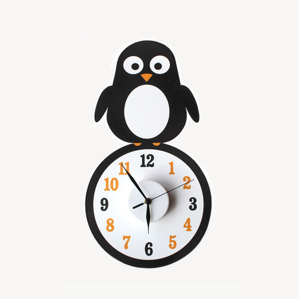 Pippa the penguin wall decal clock