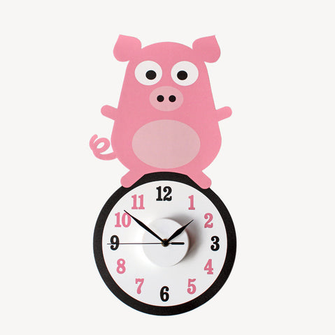 Pablo the pig wall decal clock