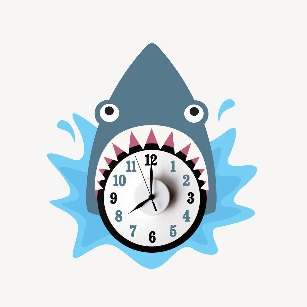 Shane the shark wall decal clock
