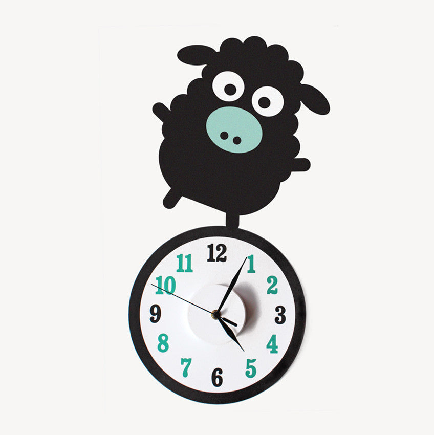Baatholomew the sheep wall decal clock