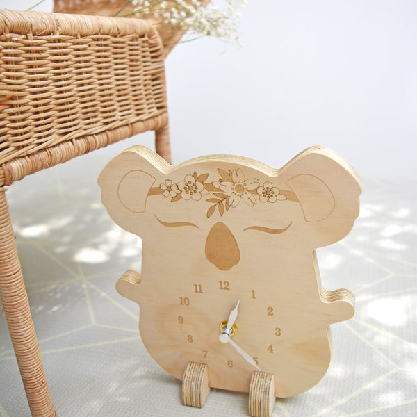 Wooden clock ~ Koala with flowers