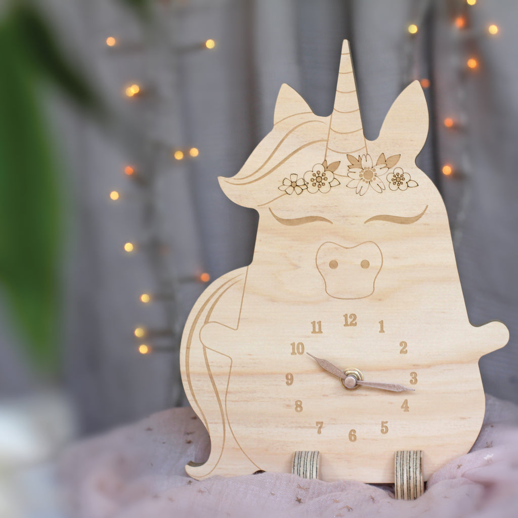 Wooden clock ~ Unicorn with flowers