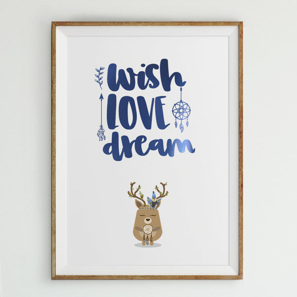 Foiled quote art print: Wish love dream